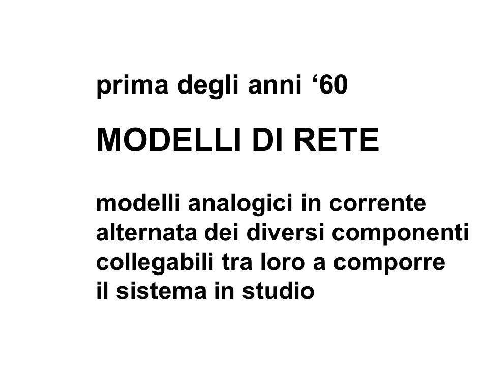 prima degli anni 60 MODELLI DI RETE modelli analogici in corrente alternata dei diversi componenti collegabili tra loro a comporre il sistema in studi