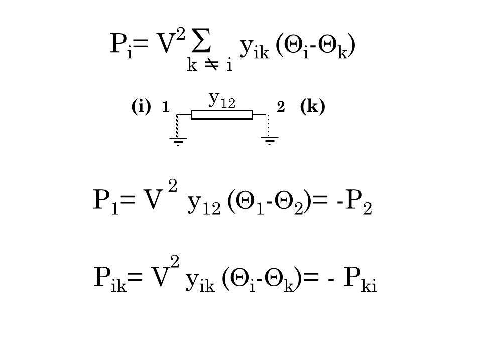 P ik = V y ik ( i - k )= - P ki 2 P i = V y ik ( i - k ) k i 2 2 P 1 = V y 12 ( 1 - 2 ) = -P 2 (i) 1 2 (k) y 12