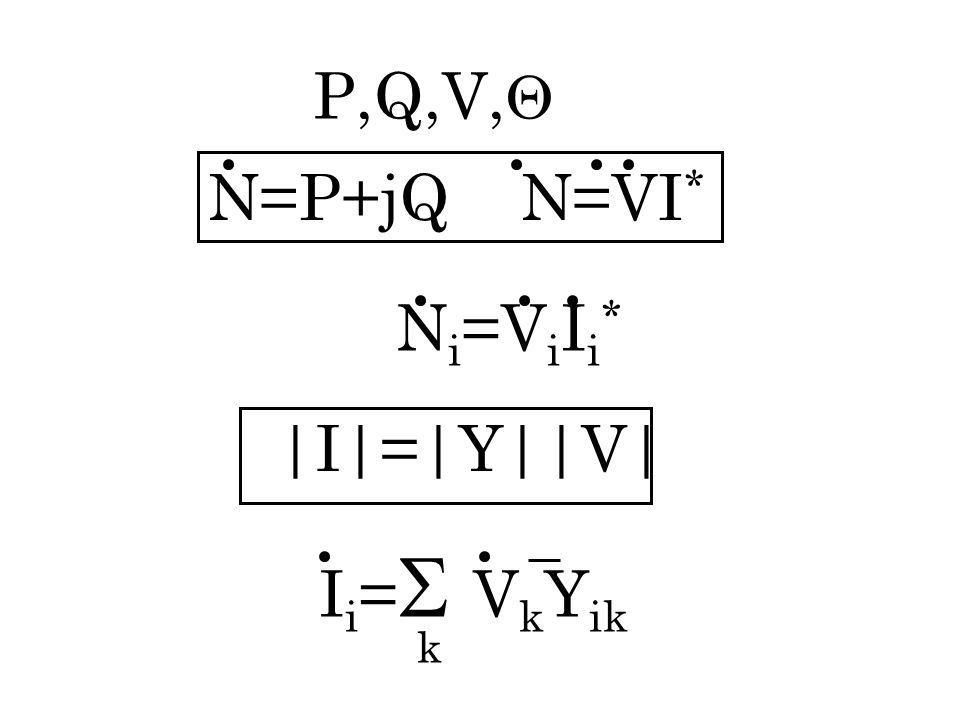 P,Q,V, N=P+jQ N=VI * I i = V k Y ik k N i =V i I i *  I = Y  V 