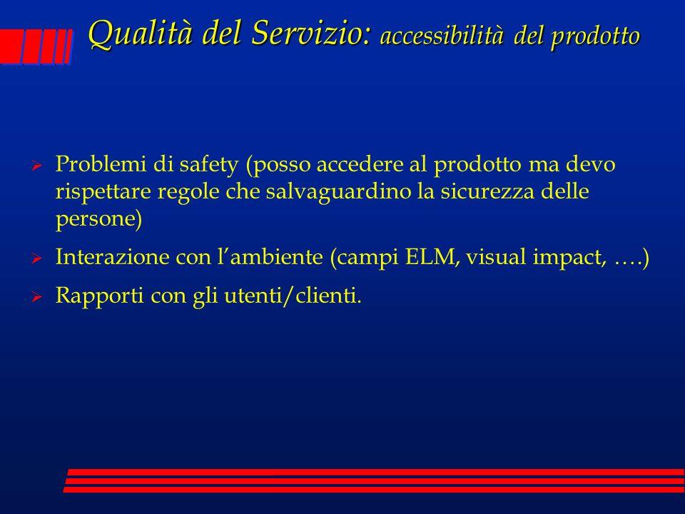 Qualità del Servizio: accessibilità del prodotto Problemi di safety (posso accedere al prodotto ma devo rispettare regole che salvaguardino la sicurez