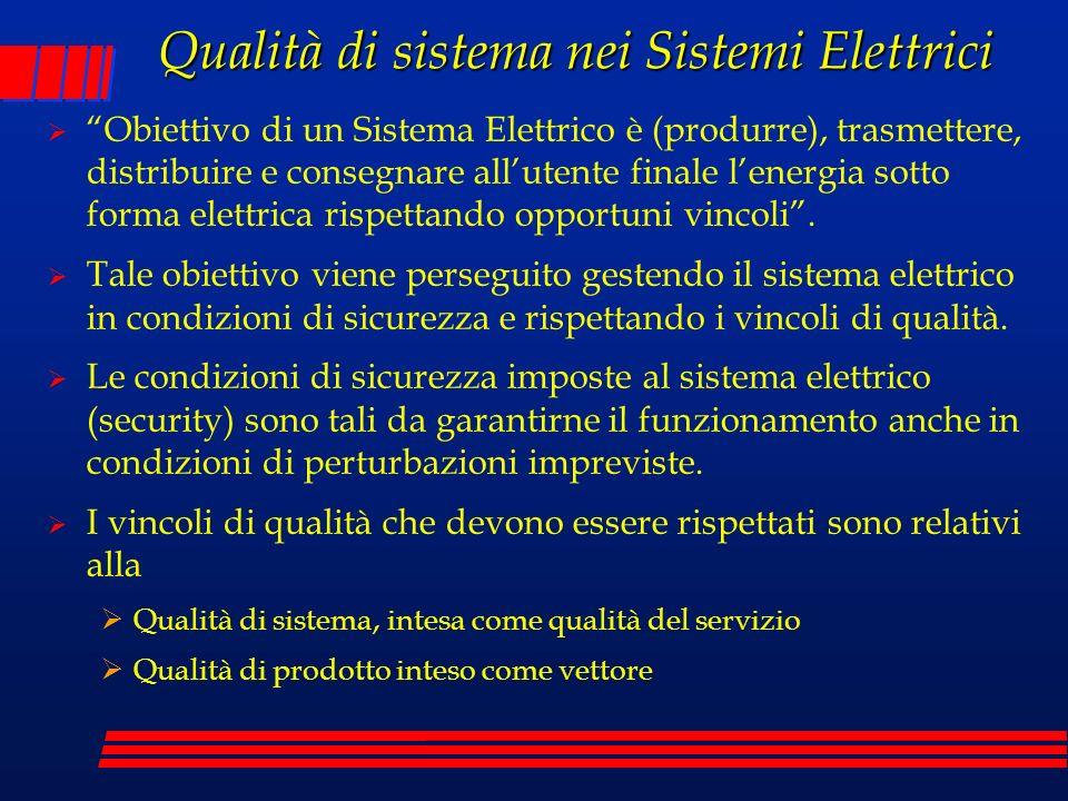 Qualità di sistema nei Sistemi Elettrici Obiettivo di un Sistema Elettrico è (produrre), trasmettere, distribuire e consegnare allutente finale lenerg