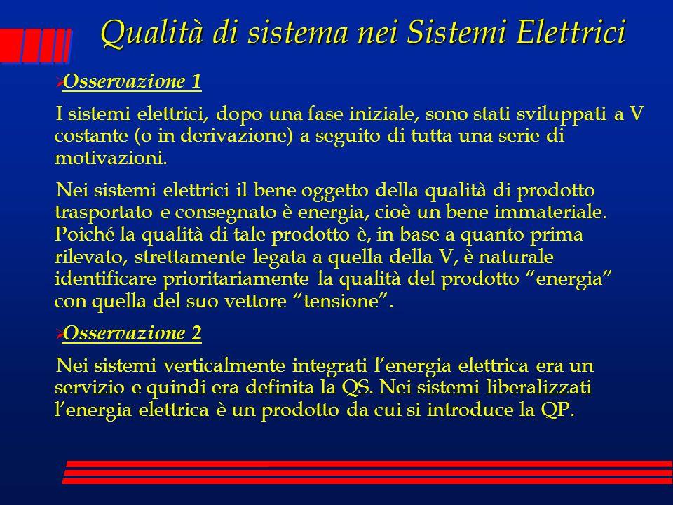 Qualità di sistema nei Sistemi Elettrici Osservazione 1 I sistemi elettrici, dopo una fase iniziale, sono stati sviluppati a V costante (o in derivazi