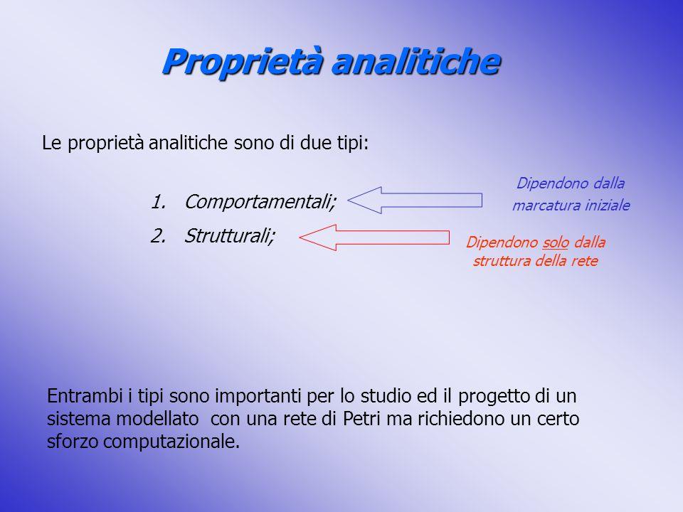 Proprietà analitiche Le proprietà analitiche sono di due tipi: 1.Comportamentali; 2.Strutturali; Dipendono dalla marcatura iniziale Dipendono solo dal