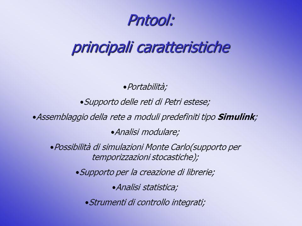 Pntool: principali caratteristiche Portabilità; Supporto delle reti di Petri estese; Assemblaggio della rete a moduli predefiniti tipo Simulink; Anali