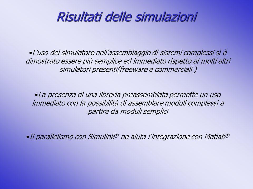 Risultati delle simulazioni Luso del simulatore nellassemblaggio di sistemi complessi si è dimostrato essere più semplice ed immediato rispetto ai mol