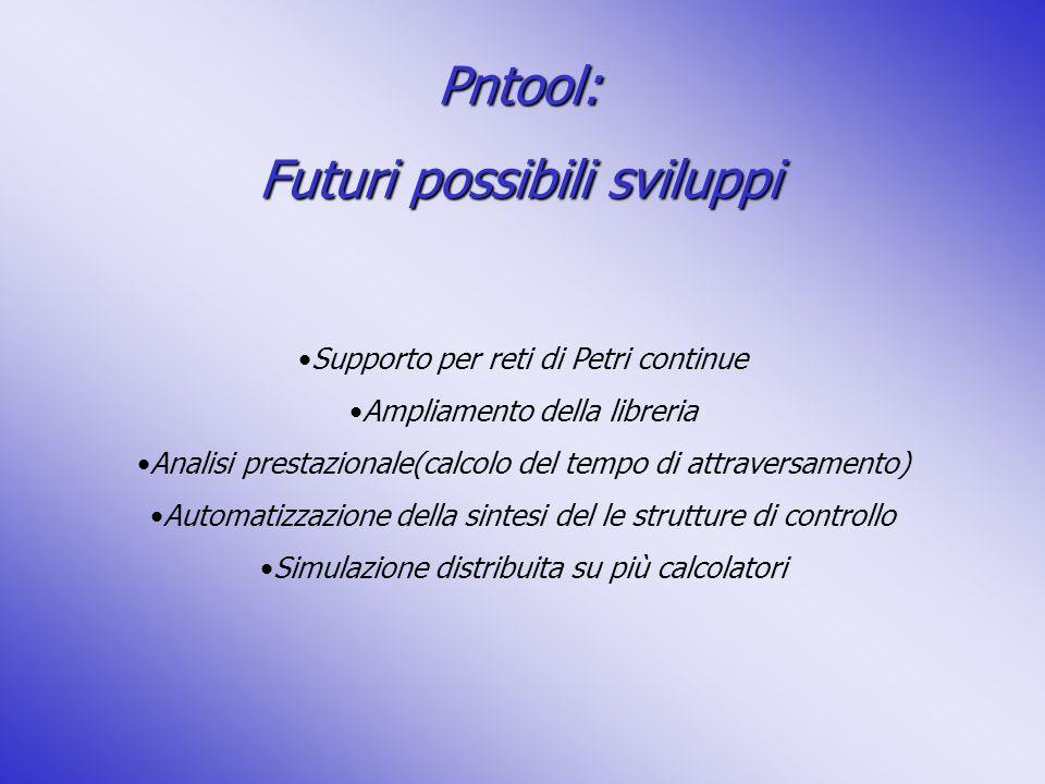 Pntool: Futuri possibili sviluppi Supporto per reti di Petri continue Ampliamento della libreria Analisi prestazionale(calcolo del tempo di attraversa