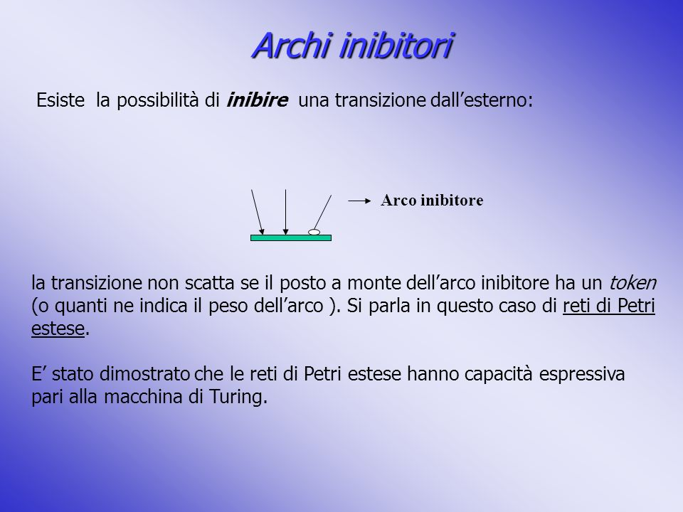 Esiste la possibilità di inibire una transizione dallesterno: Arco inibitore la transizione non scatta se il posto a monte dellarco inibitore ha un to