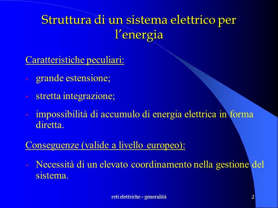 reti elettriche - generalità2 Struttura di un sistema elettrico per lenergia Caratteristiche peculiari: -grande estensione; -stretta integrazione; -im