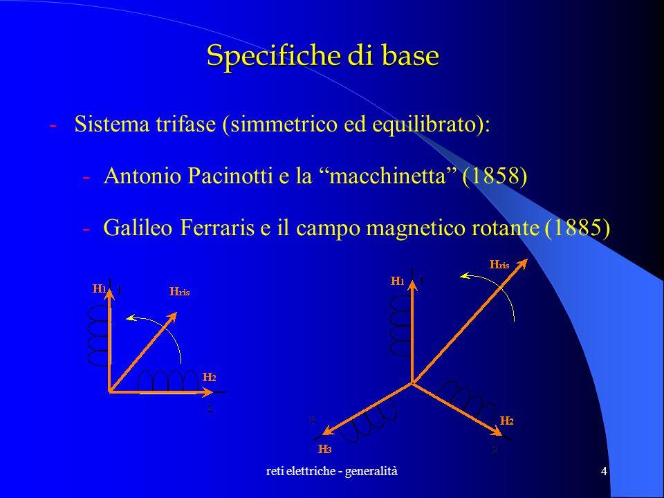 reti elettriche - generalità4 Specifiche di base -Sistema trifase (simmetrico ed equilibrato): -Antonio Pacinotti e la macchinetta (1858) -Galileo Fer