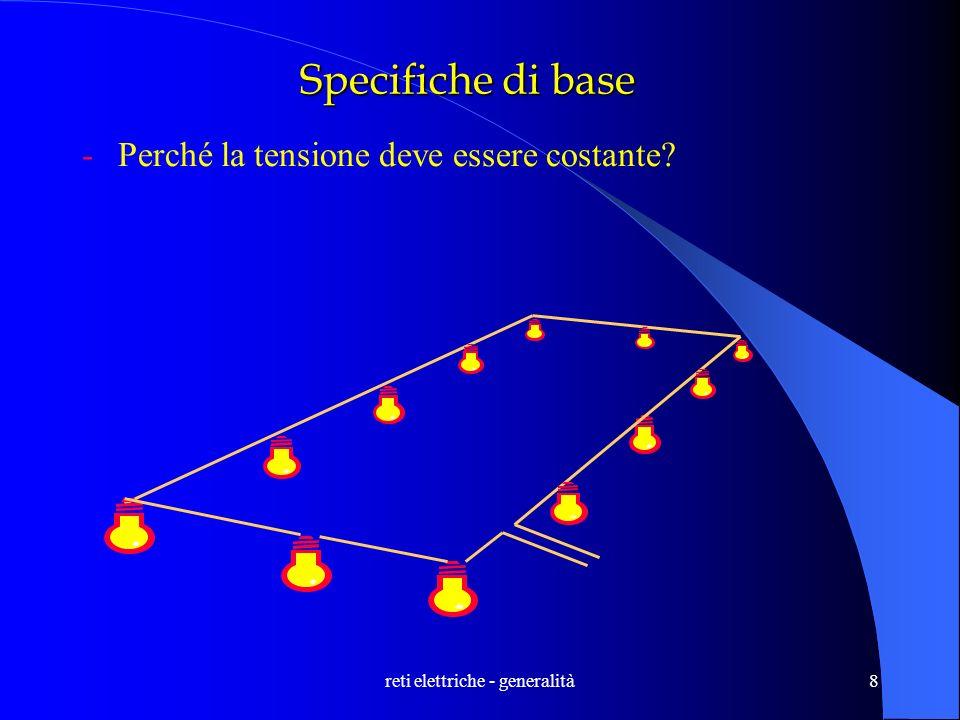 reti elettriche - generalità9 Specifiche di base -Perché la tensione deve essere costante? V I