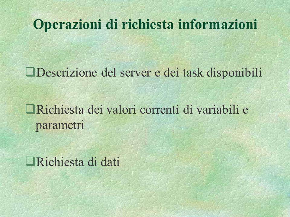 Operazioni di richiesta informazioni qDescrizione del server e dei task disponibili qRichiesta dei valori correnti di variabili e parametri qRichiesta di dati