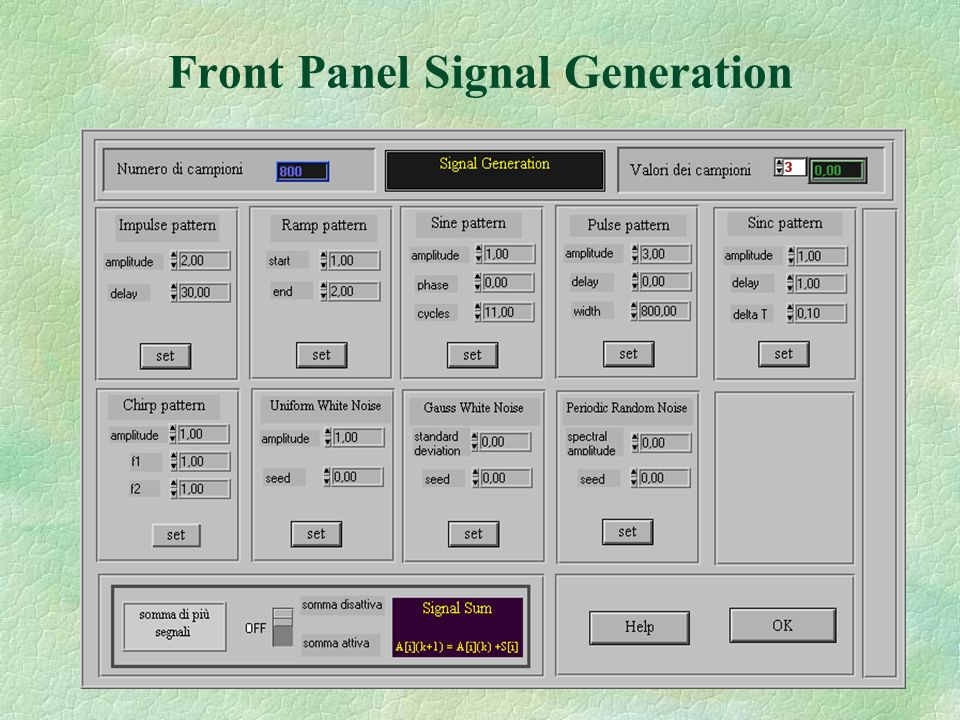 Front Panel Signal Generation