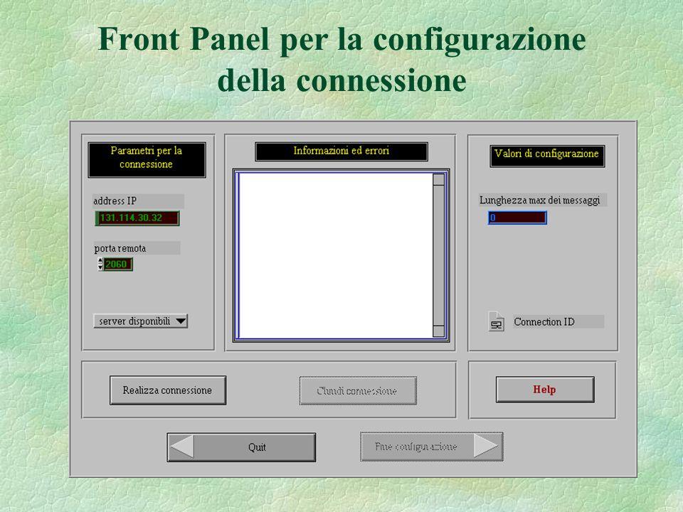 Front Panel per la configurazione della connessione