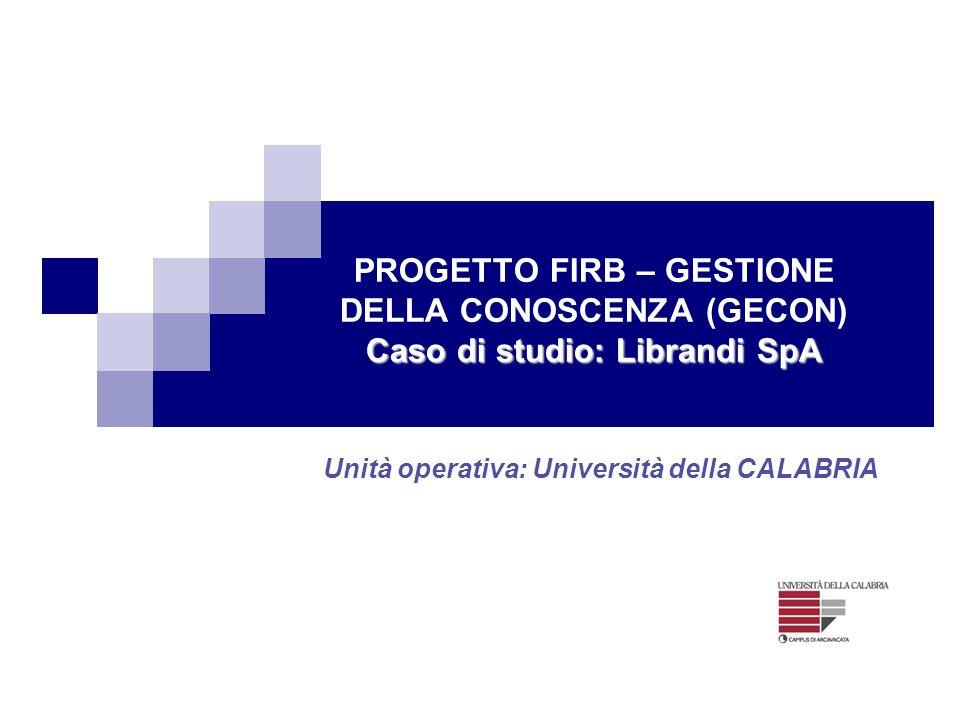 Caso di studio: Librandi SpA PROGETTO FIRB – GESTIONE DELLA CONOSCENZA (GECON) Caso di studio: Librandi SpA Unità operativa: Università della CALABRIA