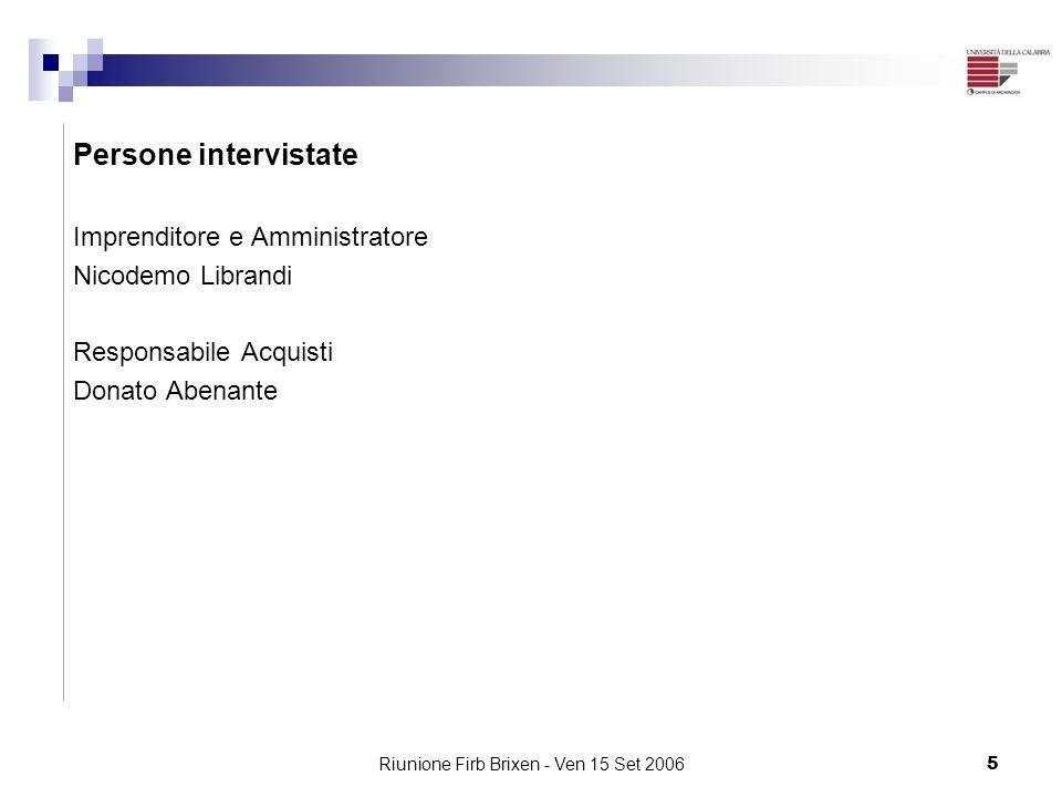 Riunione Firb Brixen - Ven 15 Set 20065 Persone intervistate Imprenditore e Amministratore Nicodemo Librandi Responsabile Acquisti Donato Abenante