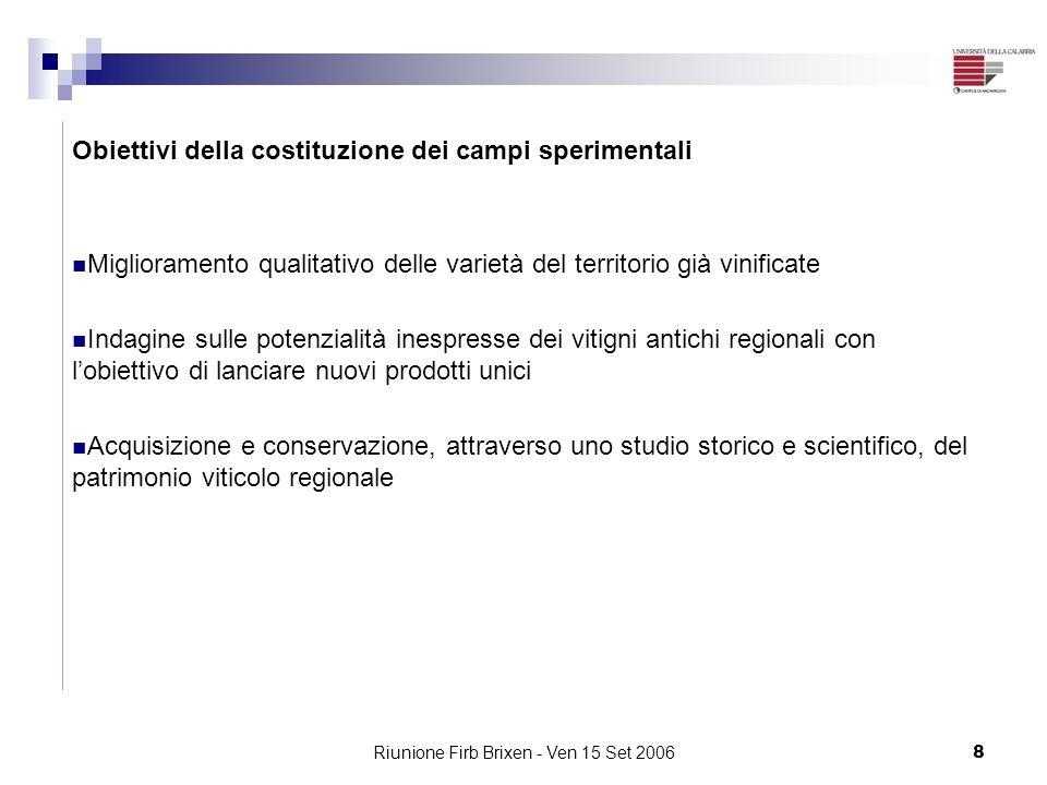 Riunione Firb Brixen - Ven 15 Set 20068 Obiettivi della costituzione dei campi sperimentali Miglioramento qualitativo delle varietà del territorio già