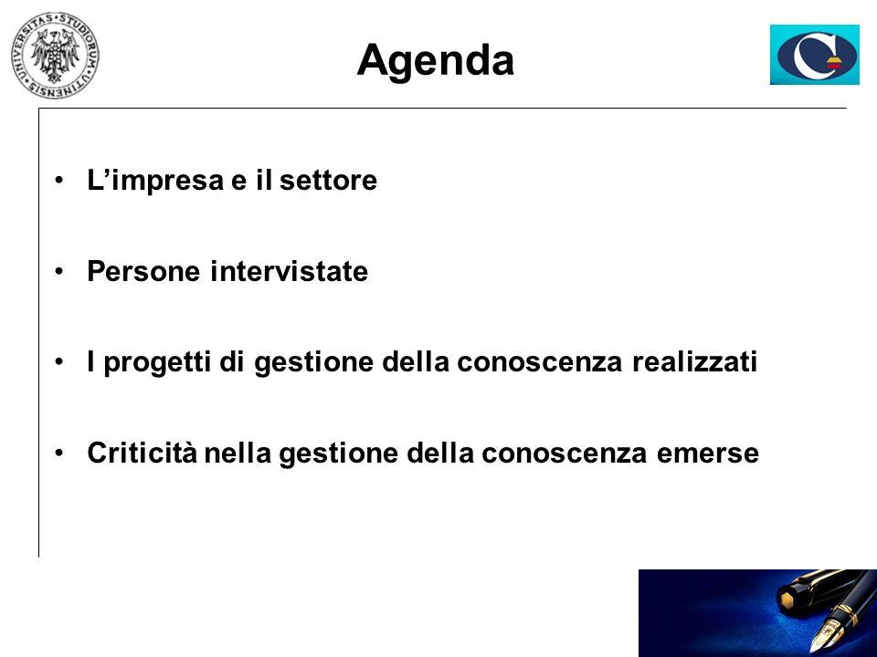 Agenda Limpresa e il settore Persone intervistate I progetti di gestione della conoscenza realizzati Criticità nella gestione della conoscenza emerse