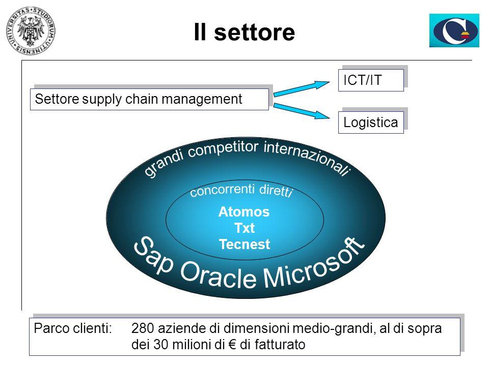 Settore supply chain management Il settore Logistica ICT/IT Parco clienti: 280 aziende di dimensioni medio-grandi, al di sopra dei 30 milioni di di fa