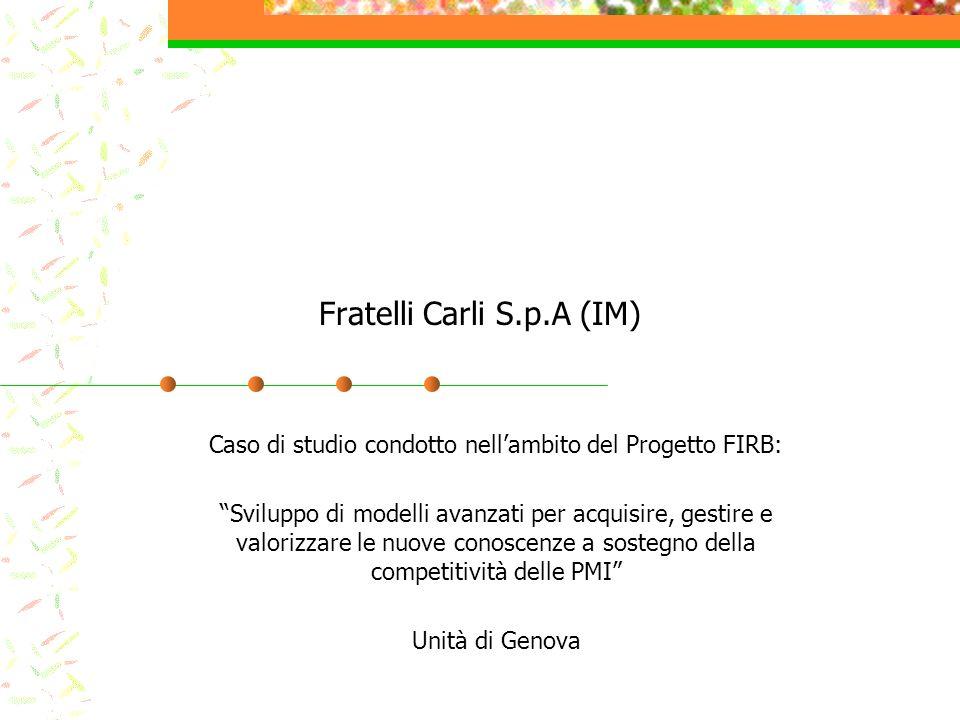 Fratelli Carli S.p.A (IM) Caso di studio condotto nellambito del Progetto FIRB: Sviluppo di modelli avanzati per acquisire, gestire e valorizzare le n