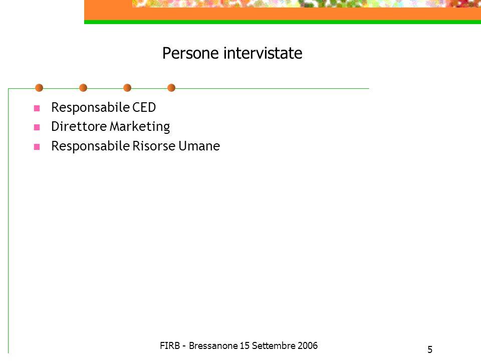 FIRB - Bressanone 15 Settembre 2006 5 Persone intervistate Responsabile CED Direttore Marketing Responsabile Risorse Umane