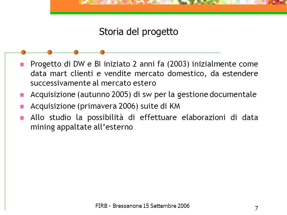 FIRB - Bressanone 15 Settembre 2006 7 Storia del progetto Progetto di DW e BI iniziato 2 anni fa (2003) inizialmente come data mart clienti e vendite