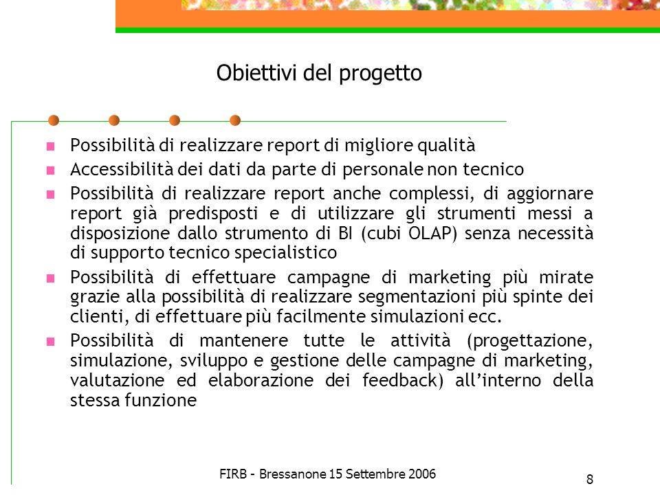 FIRB - Bressanone 15 Settembre 2006 8 Obiettivi del progetto Possibilità di realizzare report di migliore qualità Accessibilità dei dati da parte di p