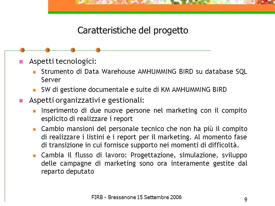 FIRB - Bressanone 15 Settembre 2006 9 Caratteristiche del progetto Aspetti tecnologici: Strumento di Data Warehouse AMHUMMING BIRD su database SQL Ser