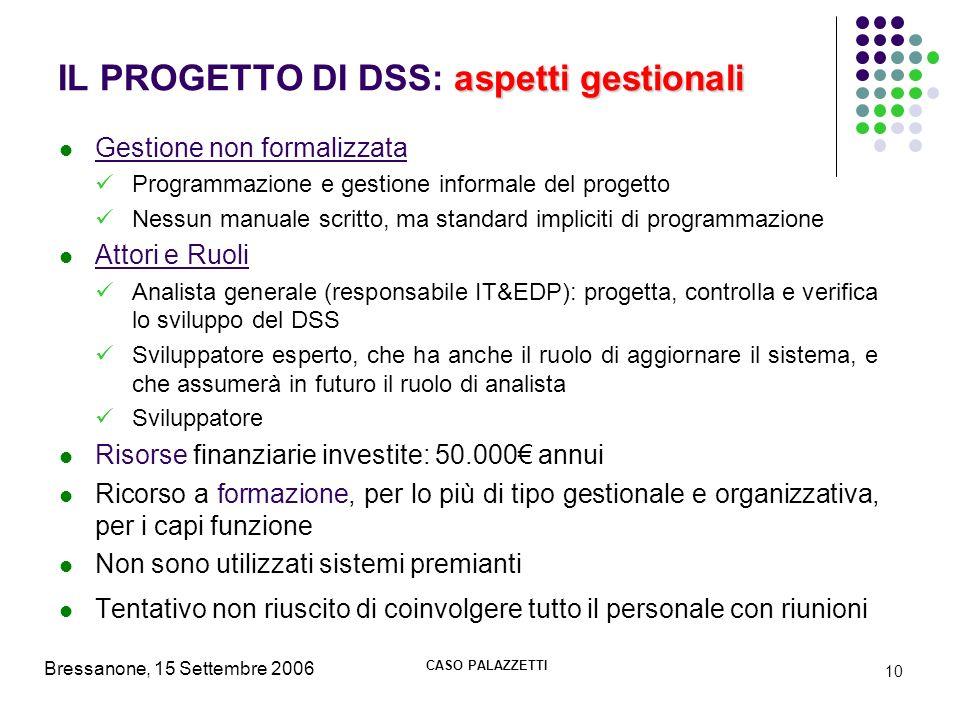 Bressanone, 15 Settembre 2006 CASO PALAZZETTI 10 aspetti gestionali IL PROGETTO DI DSS: aspetti gestionali Gestione non formalizzata Programmazione e