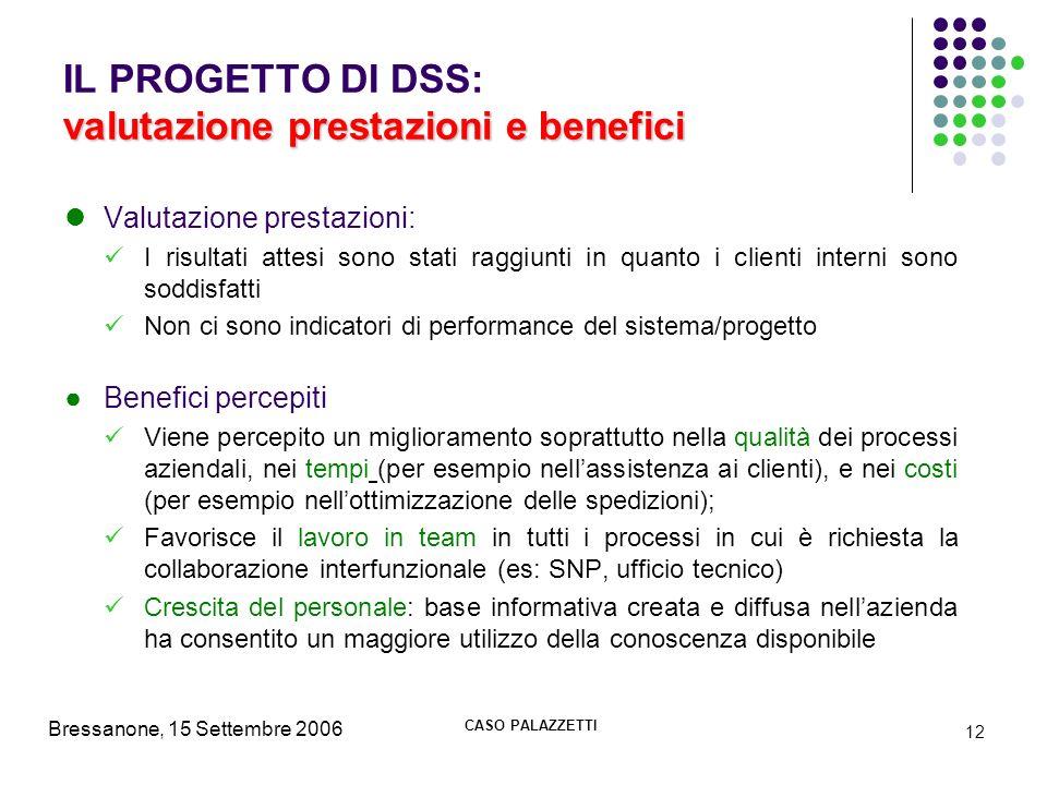 Bressanone, 15 Settembre 2006 CASO PALAZZETTI 12 valutazione prestazioni e benefici IL PROGETTO DI DSS: valutazione prestazioni e benefici Valutazione