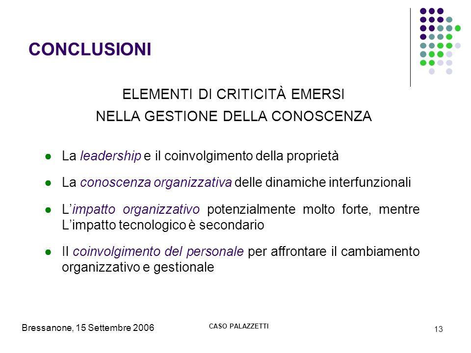 Bressanone, 15 Settembre 2006 CASO PALAZZETTI 13 CONCLUSIONI La leadership e il coinvolgimento della proprietà La conoscenza organizzativa delle dinam