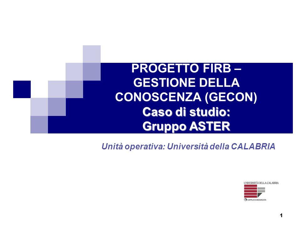 1 Caso di studio: Gruppo ASTER PROGETTO FIRB – GESTIONE DELLA CONOSCENZA (GECON) Caso di studio: Gruppo ASTER Unità operativa: Università della CALABR