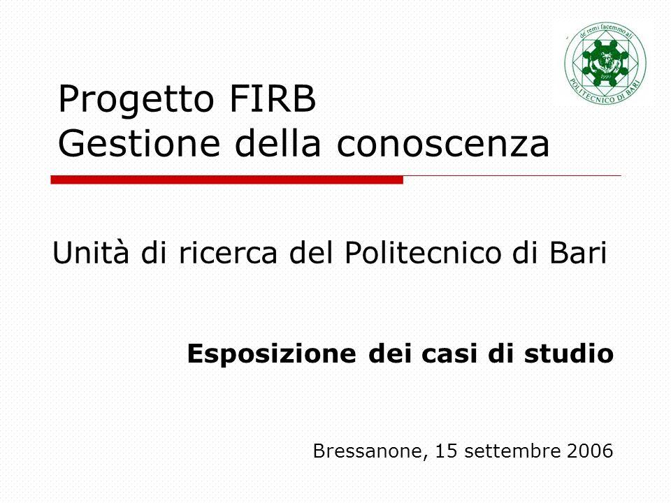 Progetto FIRB Gestione della conoscenza Esposizione dei casi di studio Bressanone, 15 settembre 2006 Unità di ricerca del Politecnico di Bari