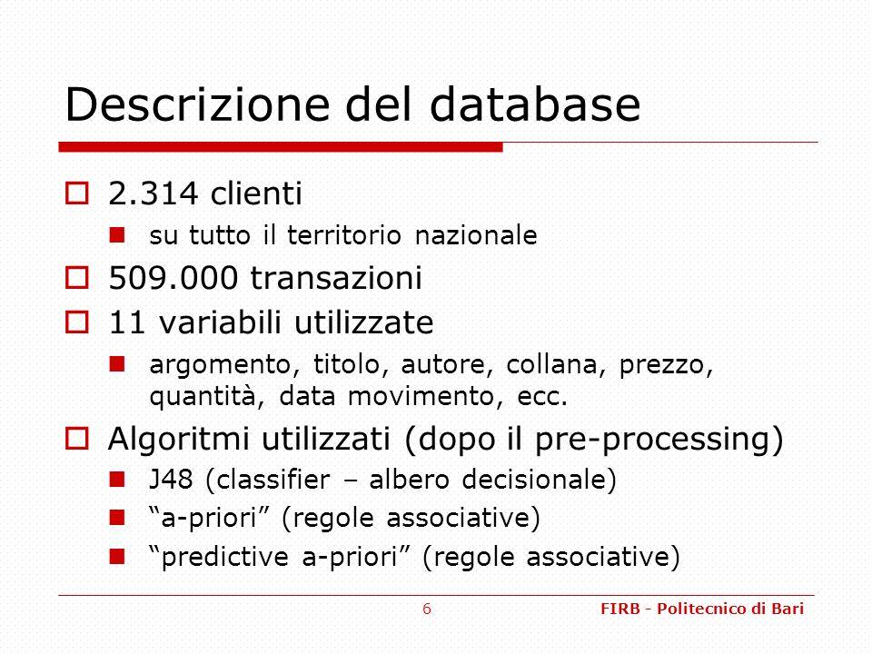 FIRB - Politecnico di Bari6 Descrizione del database 2.314 clienti su tutto il territorio nazionale 509.000 transazioni 11 variabili utilizzate argomento, titolo, autore, collana, prezzo, quantità, data movimento, ecc.