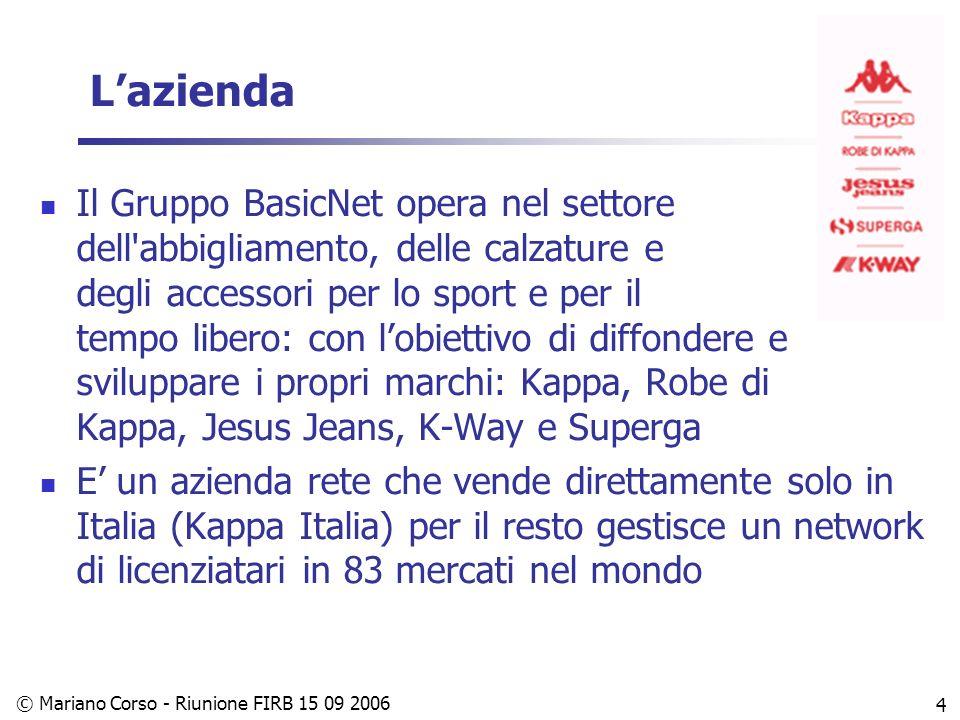 © Mariano Corso - Riunione FIRB 15 09 2006 4 Lazienda Il Gruppo BasicNet opera nel settore dell abbigliamento, delle calzature e degli accessori per lo sport e per il tempo libero: con lobiettivo di diffondere e sviluppare i propri marchi: Kappa, Robe di Kappa, Jesus Jeans, K-Way e Superga E un azienda rete che vende direttamente solo in Italia (Kappa Italia) per il resto gestisce un network di licenziatari in 83 mercati nel mondo