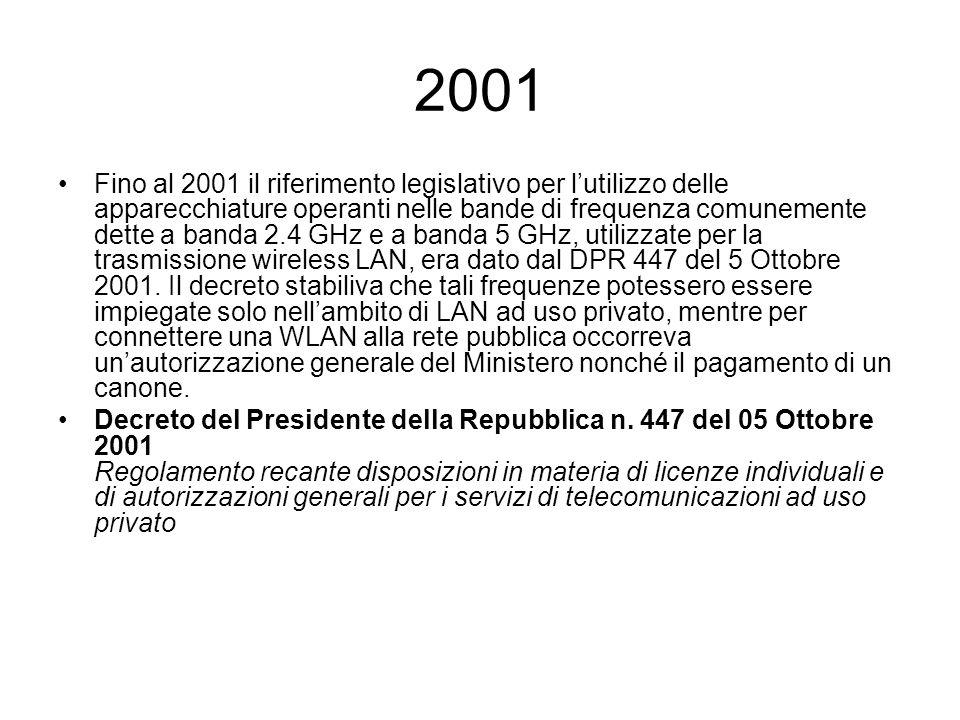 2002 A partire dal gennaio 2002, il regolamento di attuazione dello stesso DPR 447 del 5 Ottobre 2001 consente lutilizzo di dispositivi di WLAN che operano sulle bande di frequenza appositamente assegnate, senza più la necessità di richiedere alcuna concessione.