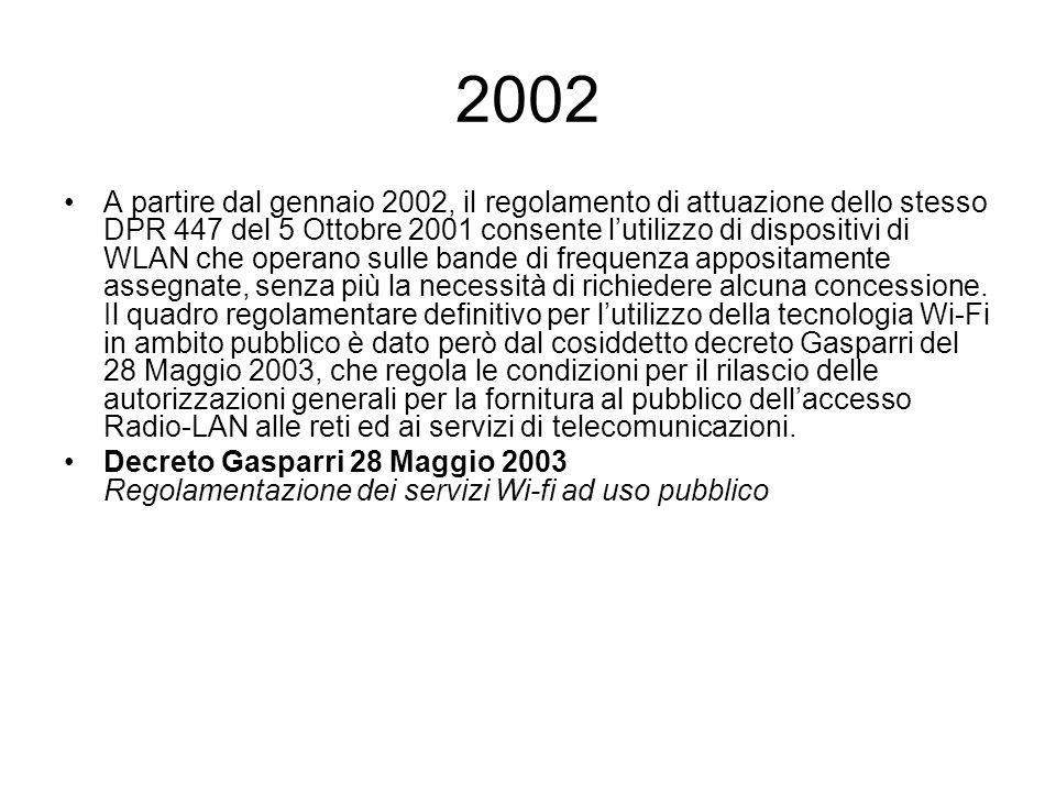 2002 A partire dal gennaio 2002, il regolamento di attuazione dello stesso DPR 447 del 5 Ottobre 2001 consente lutilizzo di dispositivi di WLAN che op