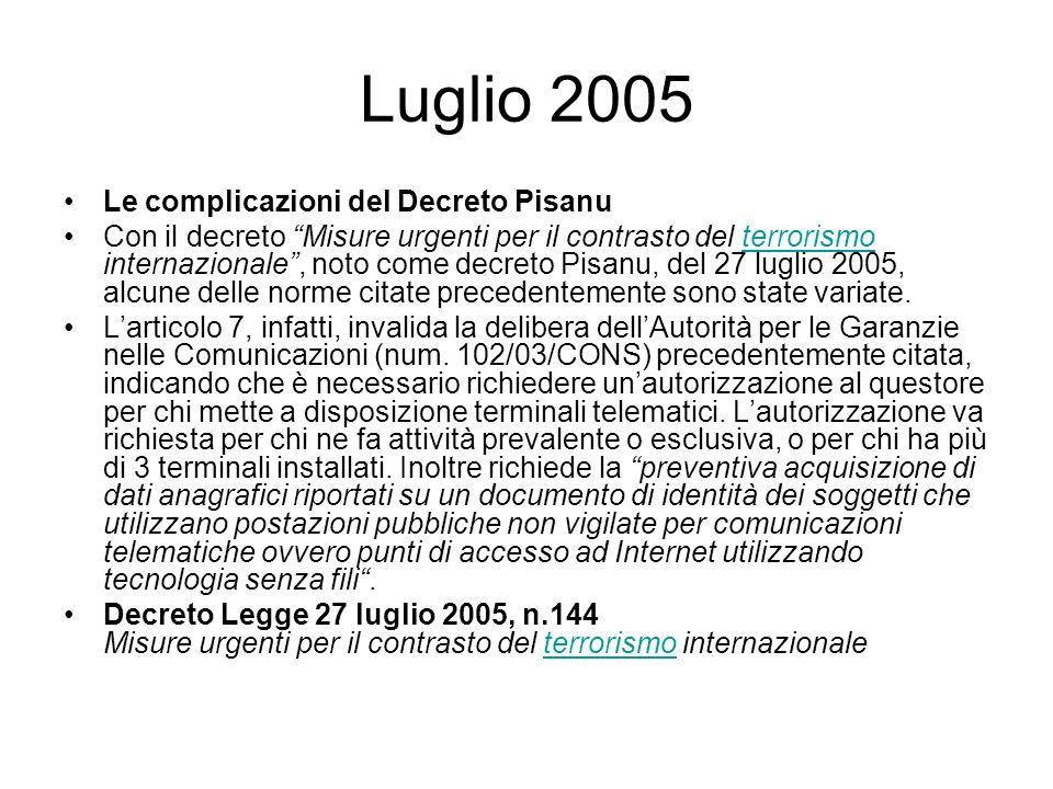 Luglio 2005 Le complicazioni del Decreto Pisanu Con il decreto Misure urgenti per il contrasto del terrorismo internazionale, noto come decreto Pisanu