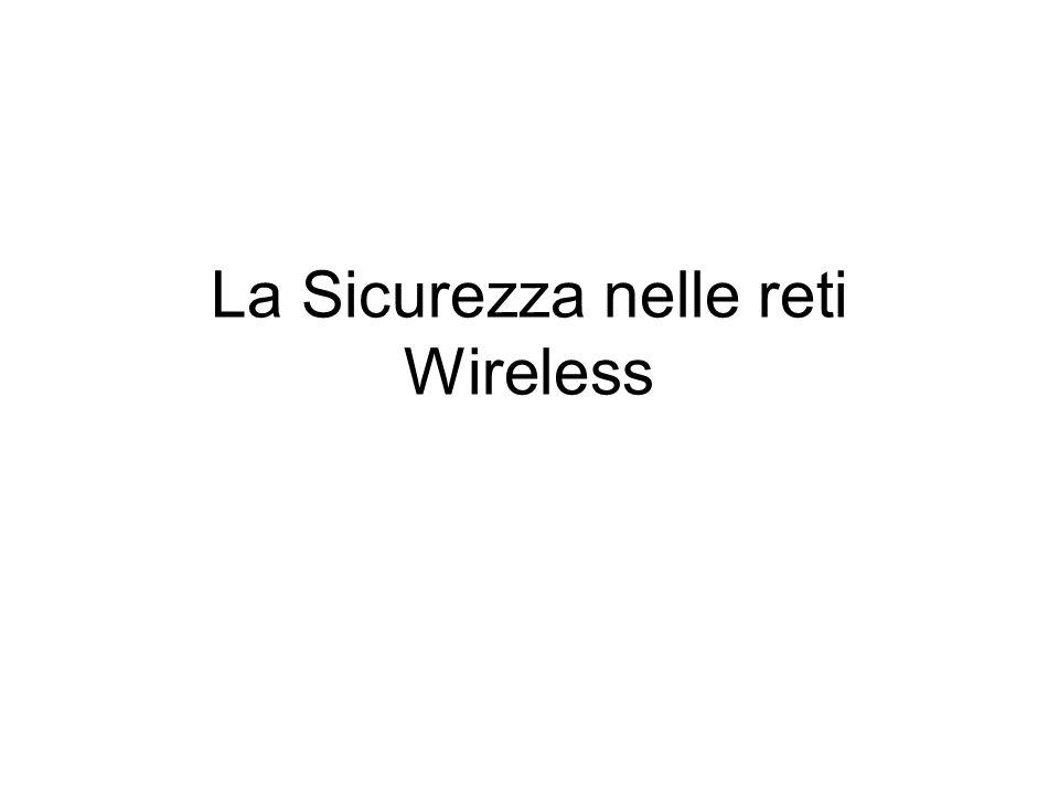 Wireless LAN e Security Debolezze I problemi principali di sicurezza introdotti da una Wireless LAN sono dovuti al protocollo 801.11b (Wi-Fi) riguardo: Autenticazione Criptazione