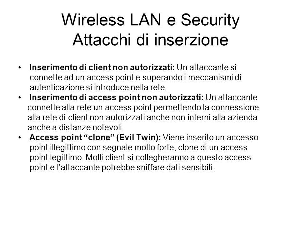 Wireless LAN e Security Attacchi di inserzione Inserimento di client non autorizzati: Un attaccante si connette ad un access point e superando i mecca