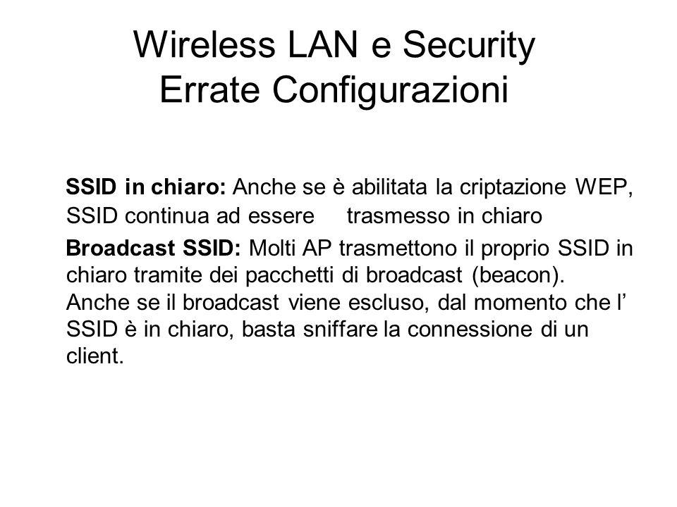 Wireless LAN e Security Errate Configurazioni SSID in chiaro: Anche se è abilitata la criptazione WEP, SSID continua ad essere trasmesso in chiaro Bro