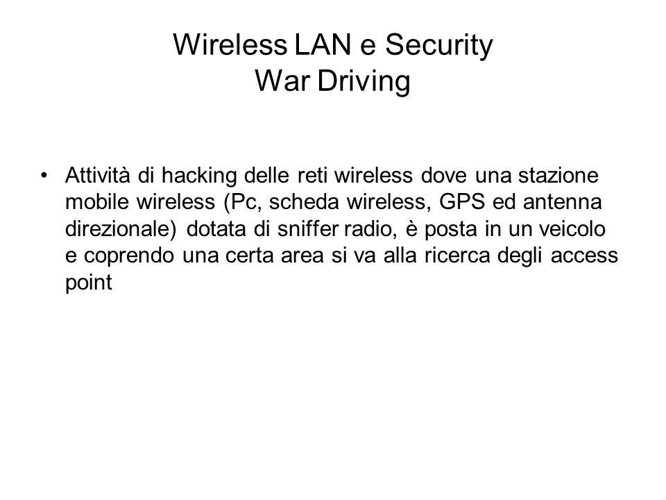 Wireless LAN e Security War Driving Attività di hacking delle reti wireless dove una stazione mobile wireless (Pc, scheda wireless, GPS ed antenna dir