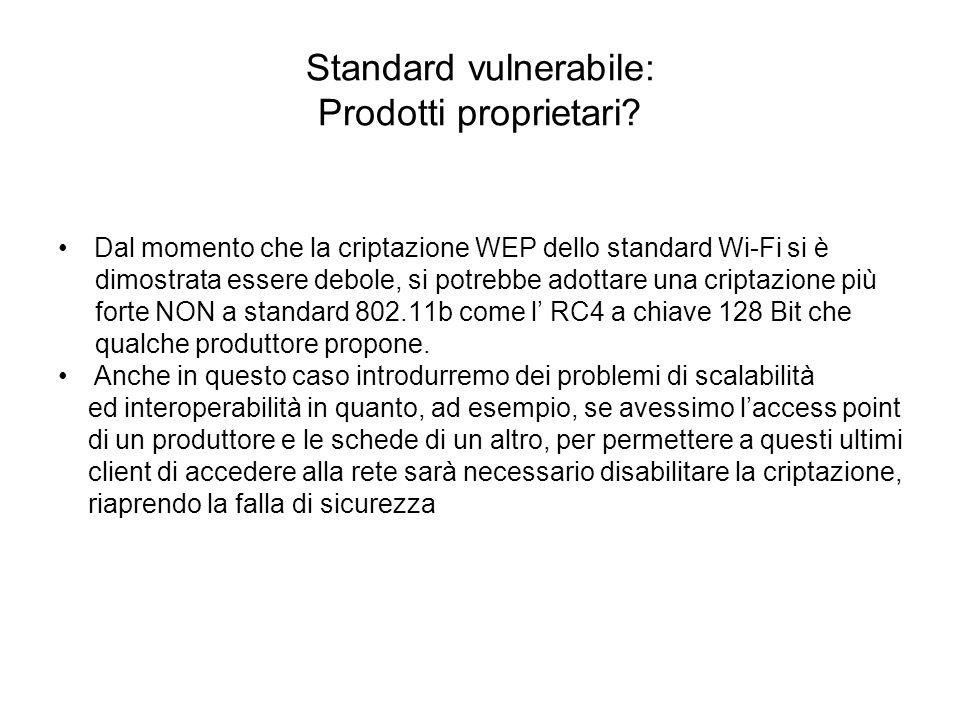 Standard vulnerabile: Prodotti proprietari? Dal momento che la criptazione WEP dello standard Wi-Fi si è dimostrata essere debole, si potrebbe adottar
