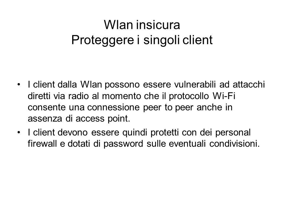 Wlan insicura Proteggere i singoli client I client dalla Wlan possono essere vulnerabili ad attacchi diretti via radio al momento che il protocollo Wi