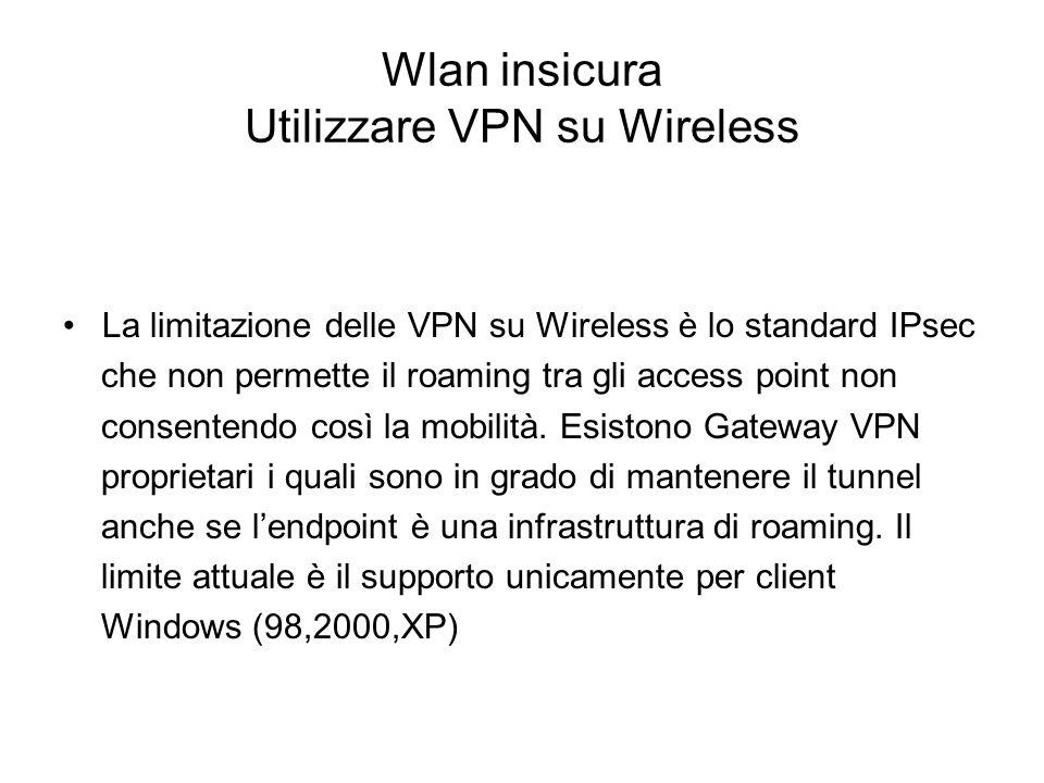 Wlan insicura Utilizzare VPN su Wireless La limitazione delle VPN su Wireless è lo standard IPsec che non permette il roaming tra gli access point non