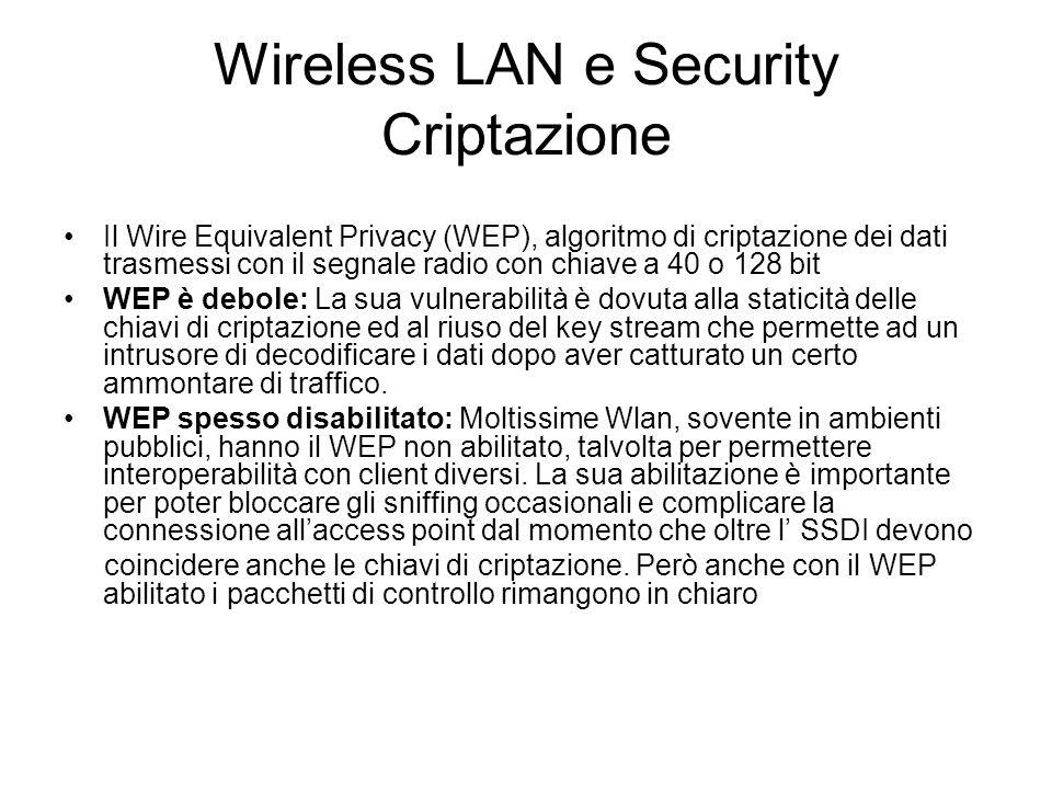Wireless LAN e Security Criptazione Il Wire Equivalent Privacy (WEP), algoritmo di criptazione dei dati trasmessi con il segnale radio con chiave a 40