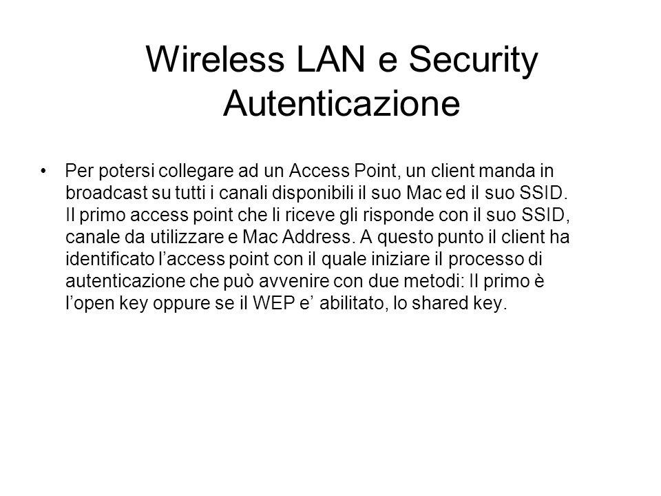 Wireless LAN e Security Autenticazione Per potersi collegare ad un Access Point, un client manda in broadcast su tutti i canali disponibili il suo Mac