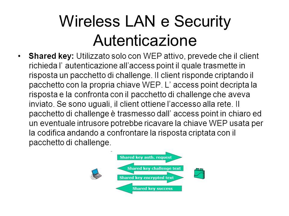 Wireless LAN e Security Autenticazione Shared key: Utilizzato solo con WEP attivo, prevede che il client richieda l autenticazione allaccess point il