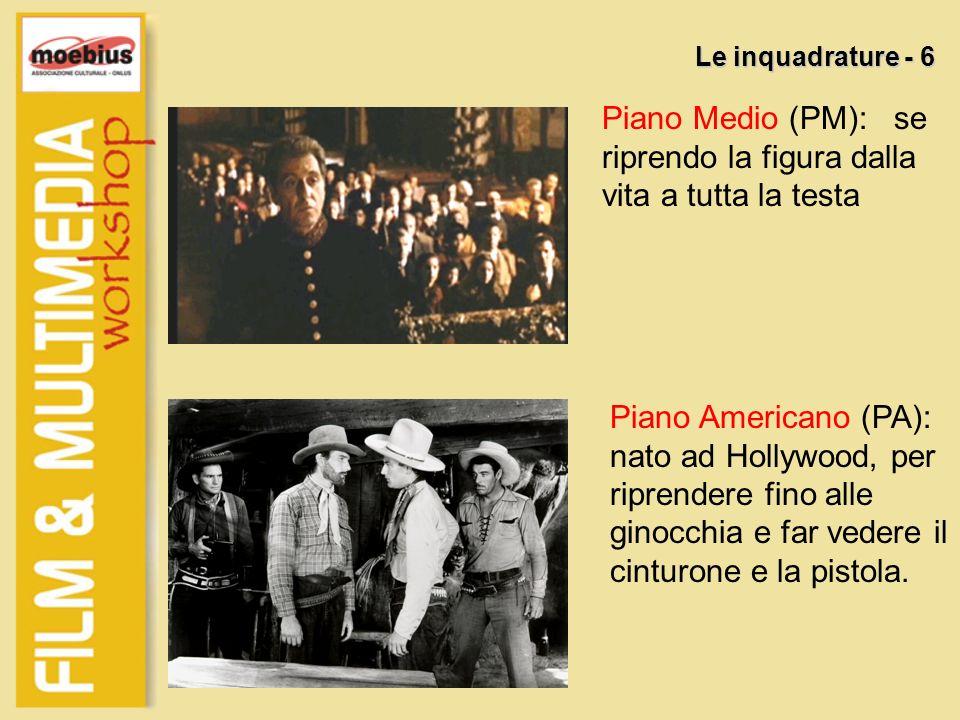 Piano Medio (PM): se riprendo la figura dalla vita a tutta la testa Le inquadrature - 6 Piano Americano (PA): nato ad Hollywood, per riprendere fino a