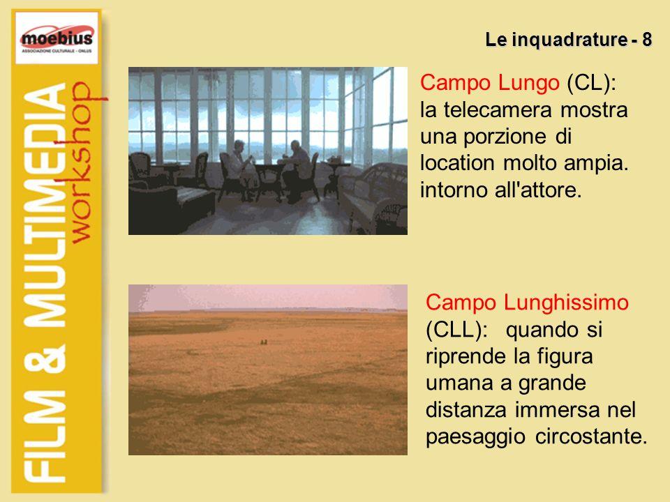 Campo Lungo (CL): la telecamera mostra una porzione di location molto ampia. intorno all'attore. Le inquadrature - 8 Campo Lunghissimo (CLL): quando s