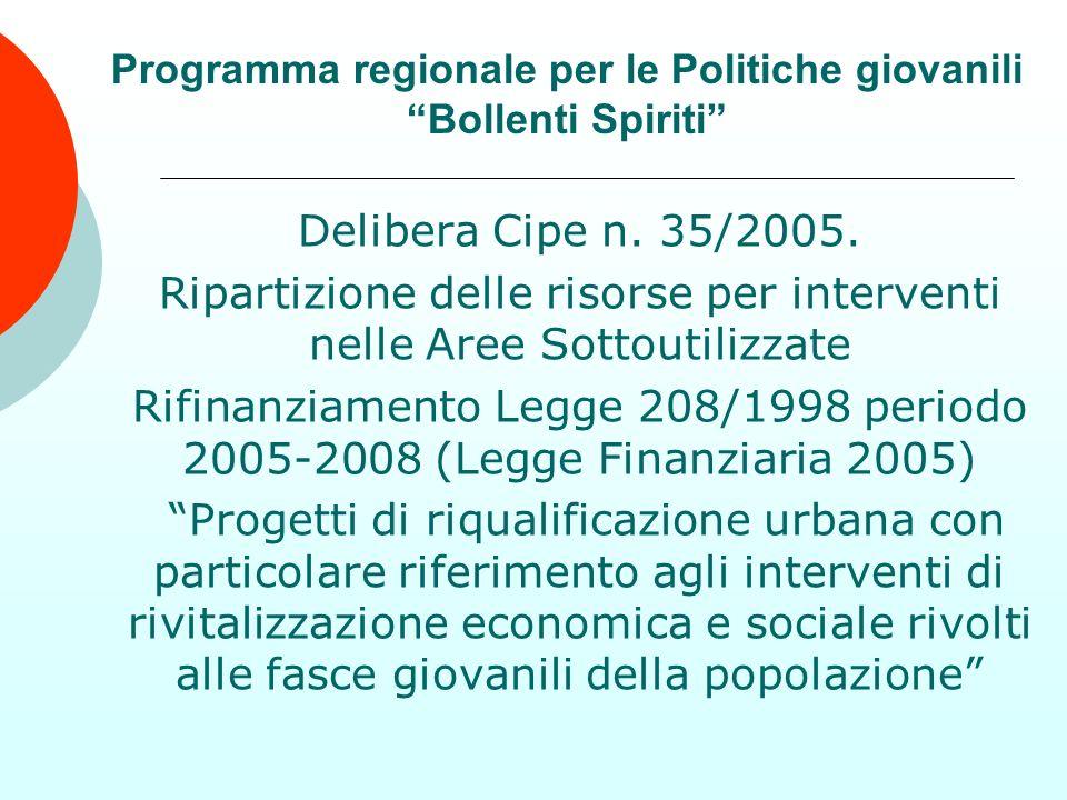 Programma regionale per le Politiche giovanili Bollenti Spiriti Delibera Cipe n. 35/2005. Ripartizione delle risorse per interventi nelle Aree Sottout